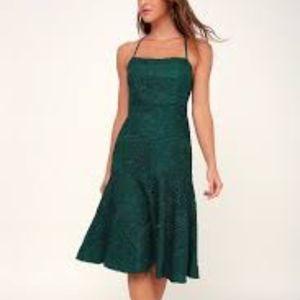 NWT Lulus Emerald Green Crochet Midi Dress XS